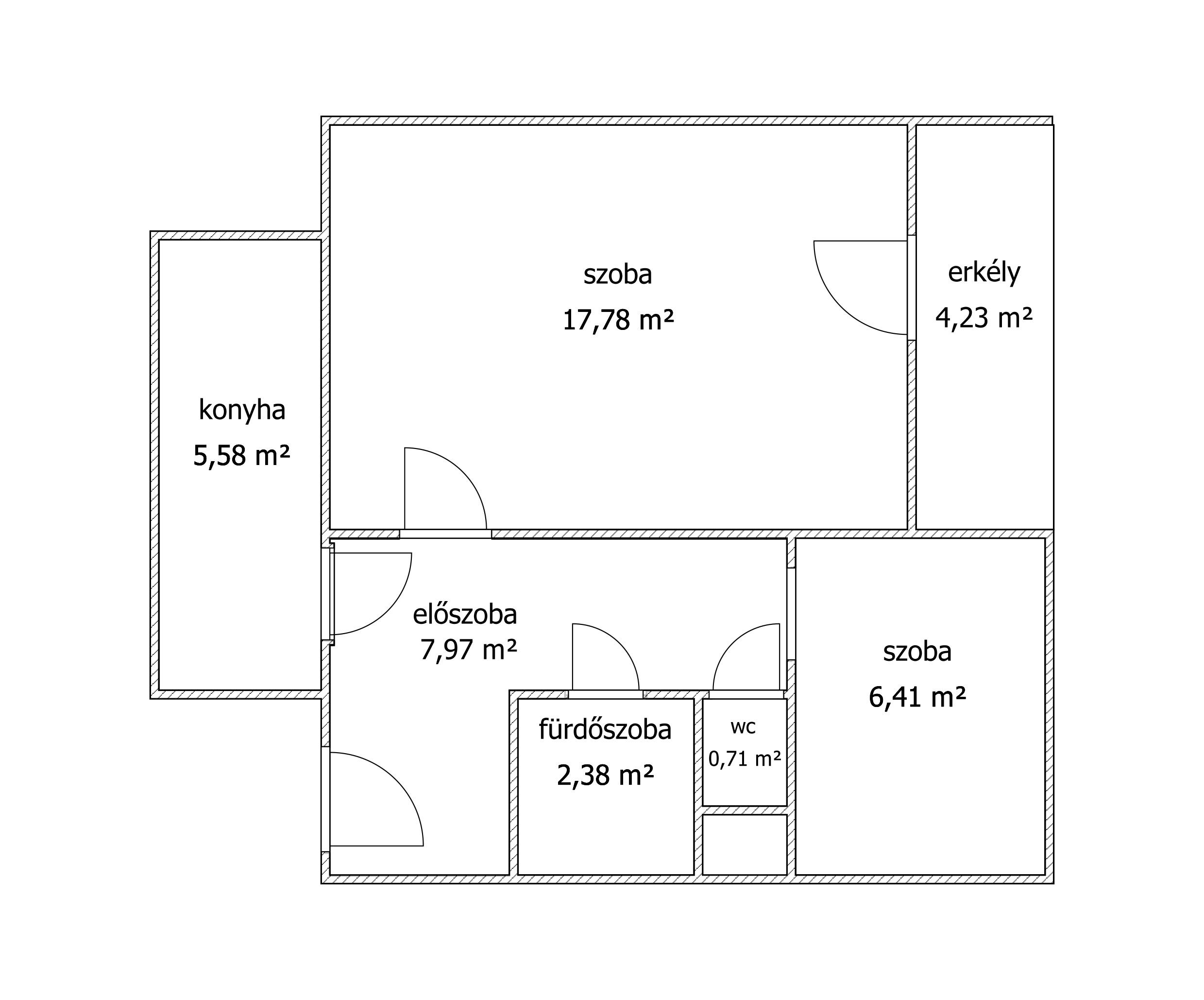 Másfél szobás váci távfűtéses panellakás alaprajz