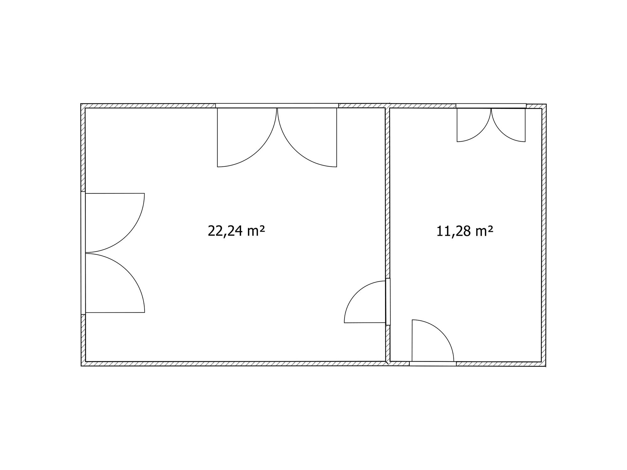 Kiadó két helyiségből álló 33m2-es iroda alaprajz